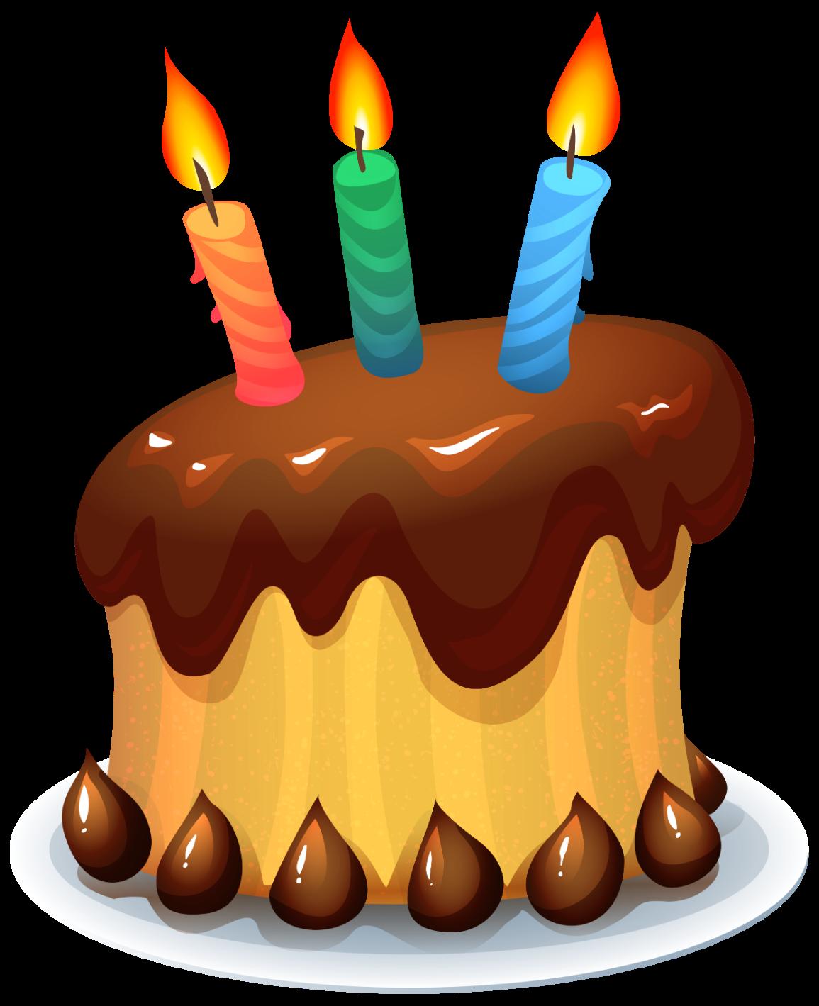 Caricatura de un pastel chueco con cobertura de chocolate y tres velitas en color rosado, verde y azul.