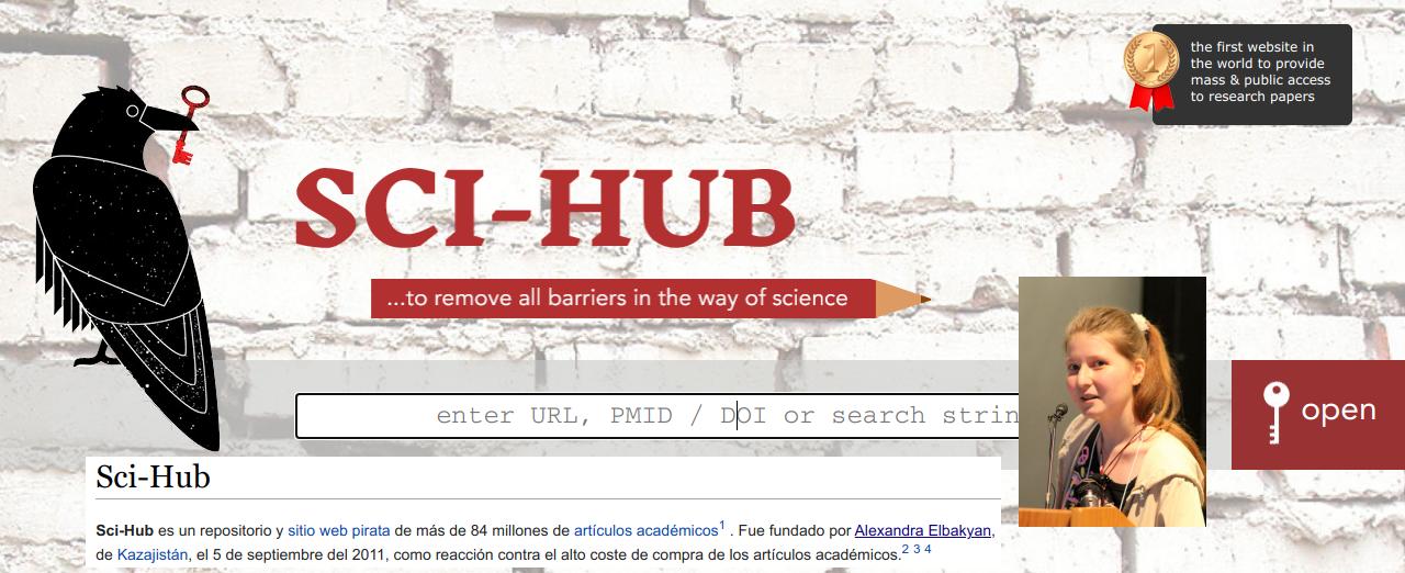 Imagen que muestra la portada de la página https://sci-hub.st, a su creadora Alexandra Elbakyan y una captura de la descripción en la Wikipedia.